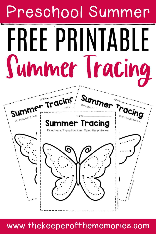Free Printable Tracing Summer Preschool Worksheets