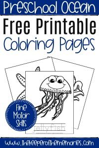 Free Printable Under the Sea Coloring Pages with text: Preschool Ocean Free Printable Coloring Pages Fine Motor Skills
