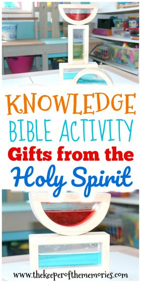 water-filled blocks stacked with text overlay: Knowledge Bible Activity Gifts from the Holy Spirit