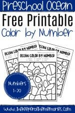 Free Printable Color by Number Ocean Preschool Worksheets