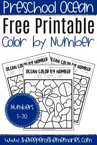 Ocean Color by Number Worksheets with text: Preschool Ocean Free Printable Ocean Color by Number Numbers 1-20