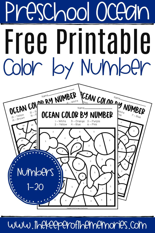 Free Printable Color By Number Ocean Preschool Worksheets The Keeper Of The Memories