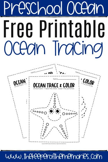 Free Printable Ocean Tracing Worksheets with text overlay: Preschool Ocean Free Printable Ocean Tracing