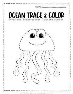 Ocean Tracing Worksheets Jellyfish
