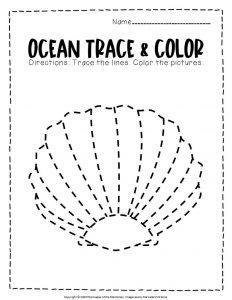 Ocean Tracing Worksheets Seashell
