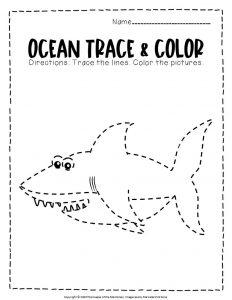 Ocean Tracing Worksheets Shark