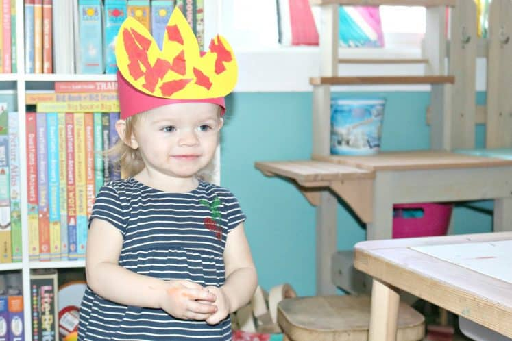 toddler wearing Raining Fire Headband