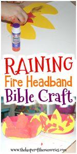 preschool headband craft with text: Raining Fire Headband Craft