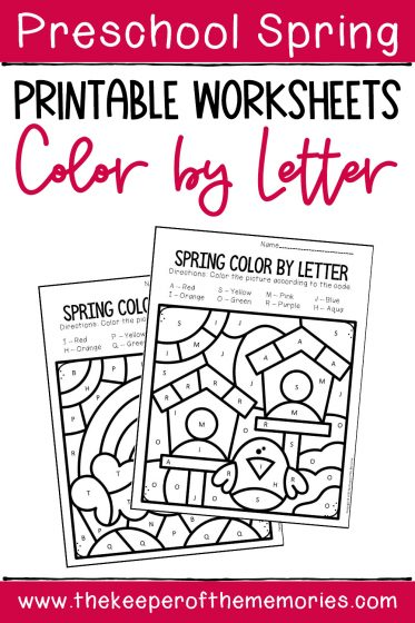 Color by Capital Letter Spring Preschool Worksheets with text: Preschool Spring Printable Worksheets Color by Letter
