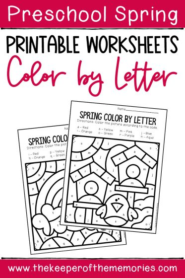 Color by Lowercase Letter Spring Preschool Worksheets with text: Preschool Spring Printable Worksheets Color by Letter
