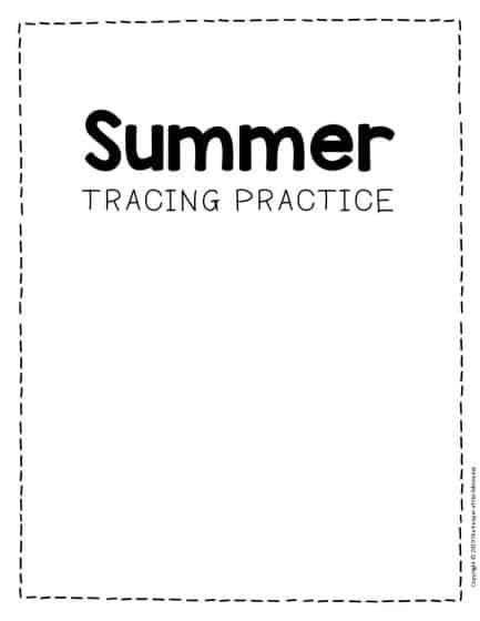 Tracing Summer Preschool Worksheets
