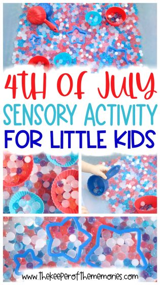 collage of 4th of July sensory bin images with text overlay: 4th of July Sensory Activity for Little Kids