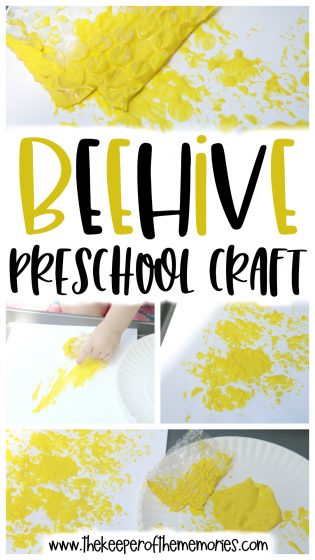 Beehive Preschool Craft collage with text overlay: Beehive Preschool Craft