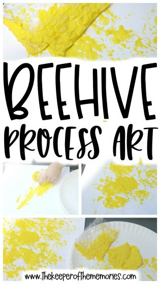 Beehive Preschool Craft collage with text overlay: Beehive Process Art