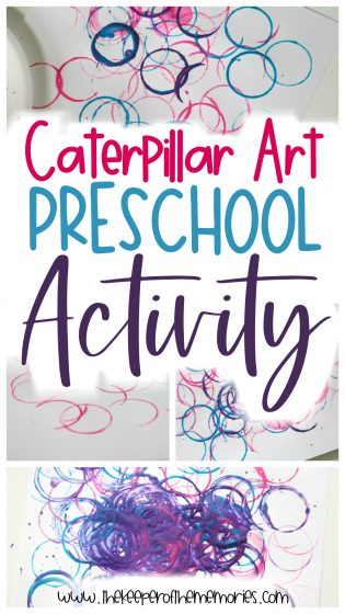 collage of caterpillar painting images with text overlay: Caterpillar Art Preschool Activity