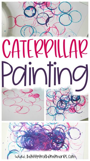 collage of caterpillar painting images with text overlay: Caterpillar Painting