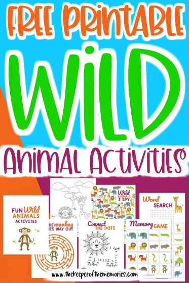 collage of printables with text: Free Printable Wild Animals Activities