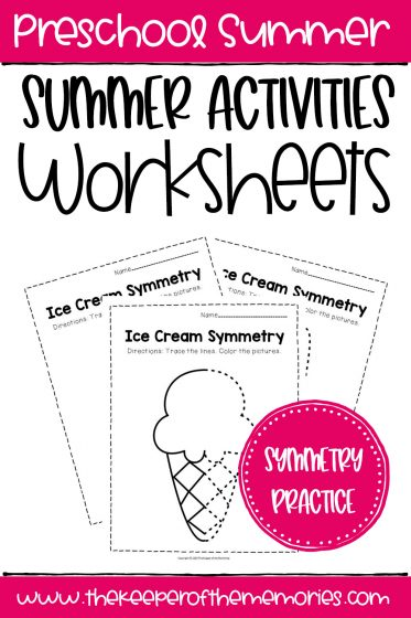 Ice Cream Symmetry Summer Activities Worksheets