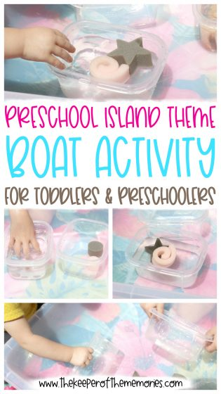 collage of Squeeze the Boat Activity images with text overlay: Preschool Island Theme Boat Activity for Toddlers & Preschoolers