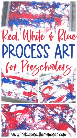 collage of patriotic process art images with text overlay: Red, White & Blue Process Art for Preschoolers