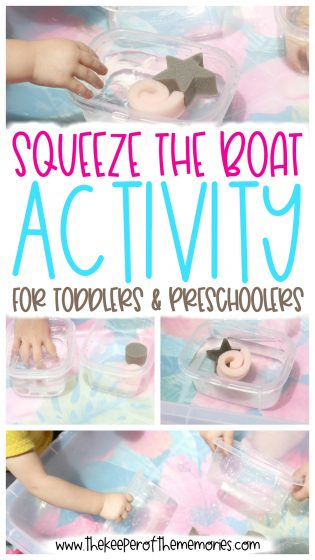 collage of Squeeze the Boat Activity images with text overlay: Squeeze the Boat Activity for Toddlers & Preschoolers