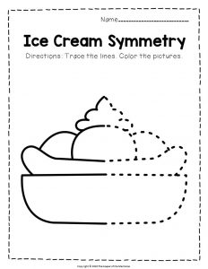 Ice Cream Symmetry Banana Split Summer Activities Worksheets
