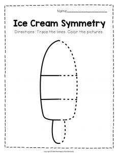 Ice Cream Symmetry Worksheets Frozen Treat
