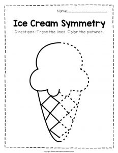 Ice Cream Symmetry Ice Cream Cone Summer Activities Worksheets