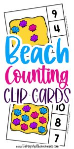 Seashell Counting Clip Cards with text: Beach Counting Clip Cards