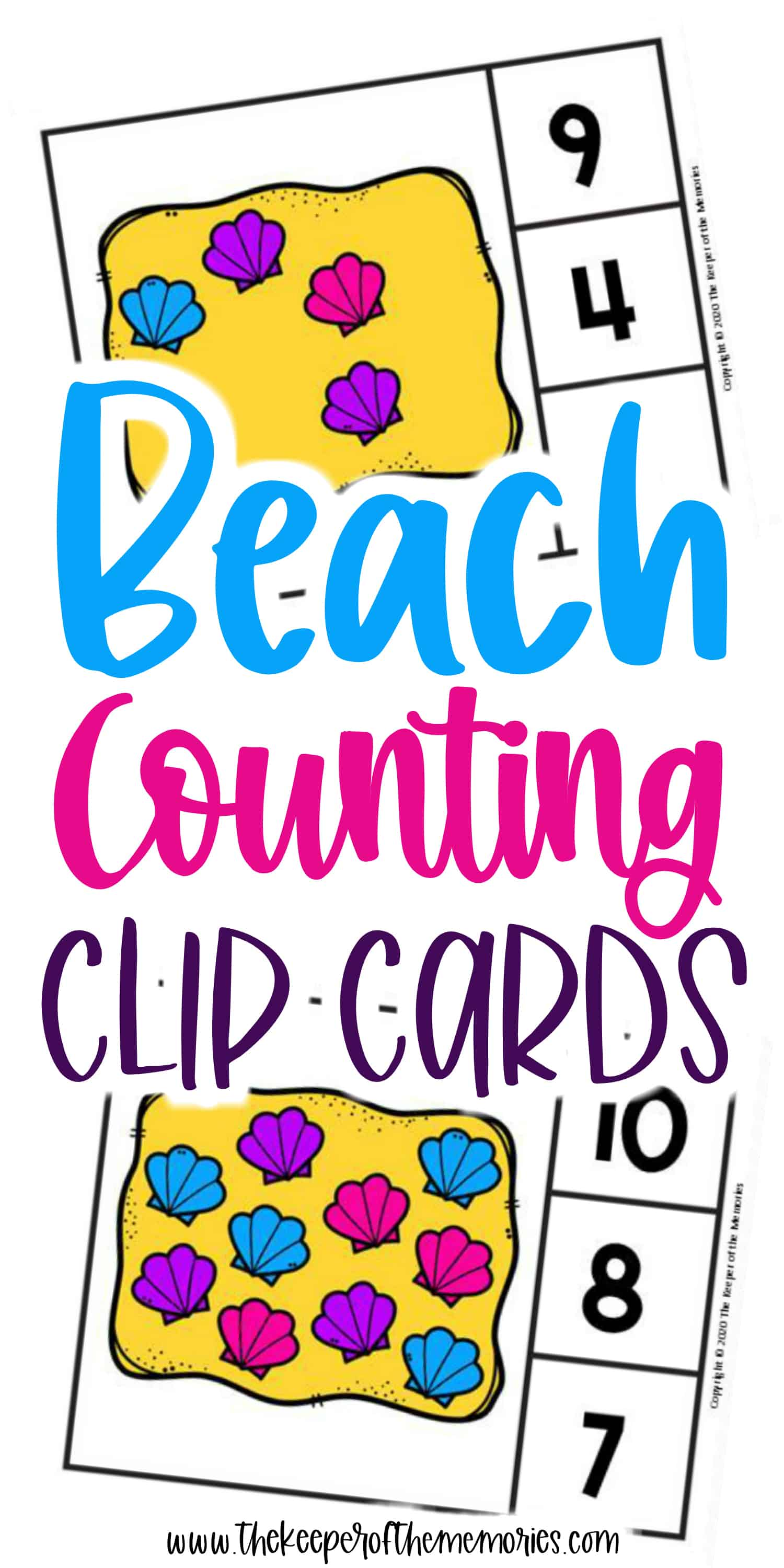 Free Printable Beach Counting Clip Cards