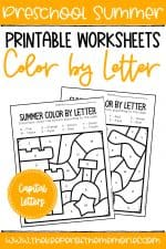 Color by Capital Letter Summer Preschool Worksheets