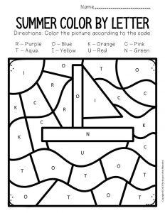 Color by Capital Letter Summer Preschool Worksheets Sailboat
