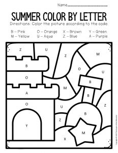 Color by Capital Letter Summer Preschool Worksheets Sandcastle