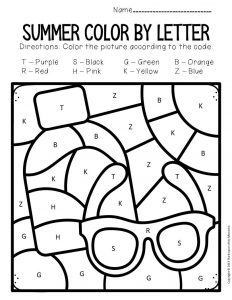 Color by Capital Letter Summer Preschool Worksheets Sunglasses and Sunscreen