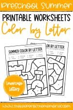Color by Lowercase Letter Summer Preschool Worksheets