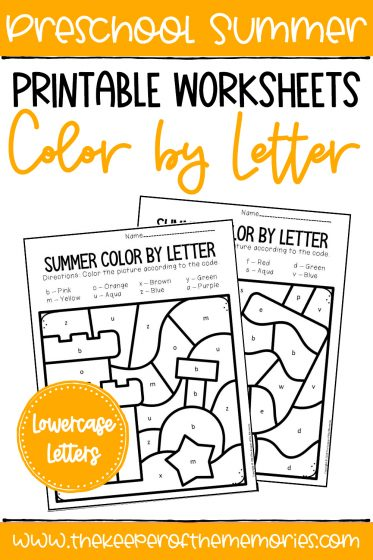 Color by Lowercase Letter Summer Preschool Worksheets with text: Preschool Summer Printable Worksheets Color by Letter Lowercase Letters