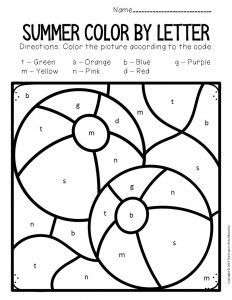 Color by Lowercase Letter Summer Preschool Worksheets Beach Balls