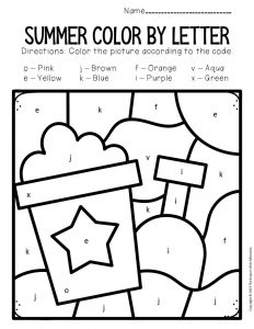 Color by Lowercase Letter Summer Preschool Worksheets Bucket and Shovel