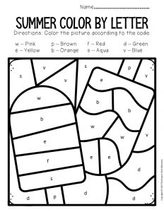 Color by Lowercase Letter Summer Preschool Worksheets Popsicles