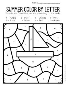 Color by Lowercase Letter Summer Preschool Worksheets Sailboat