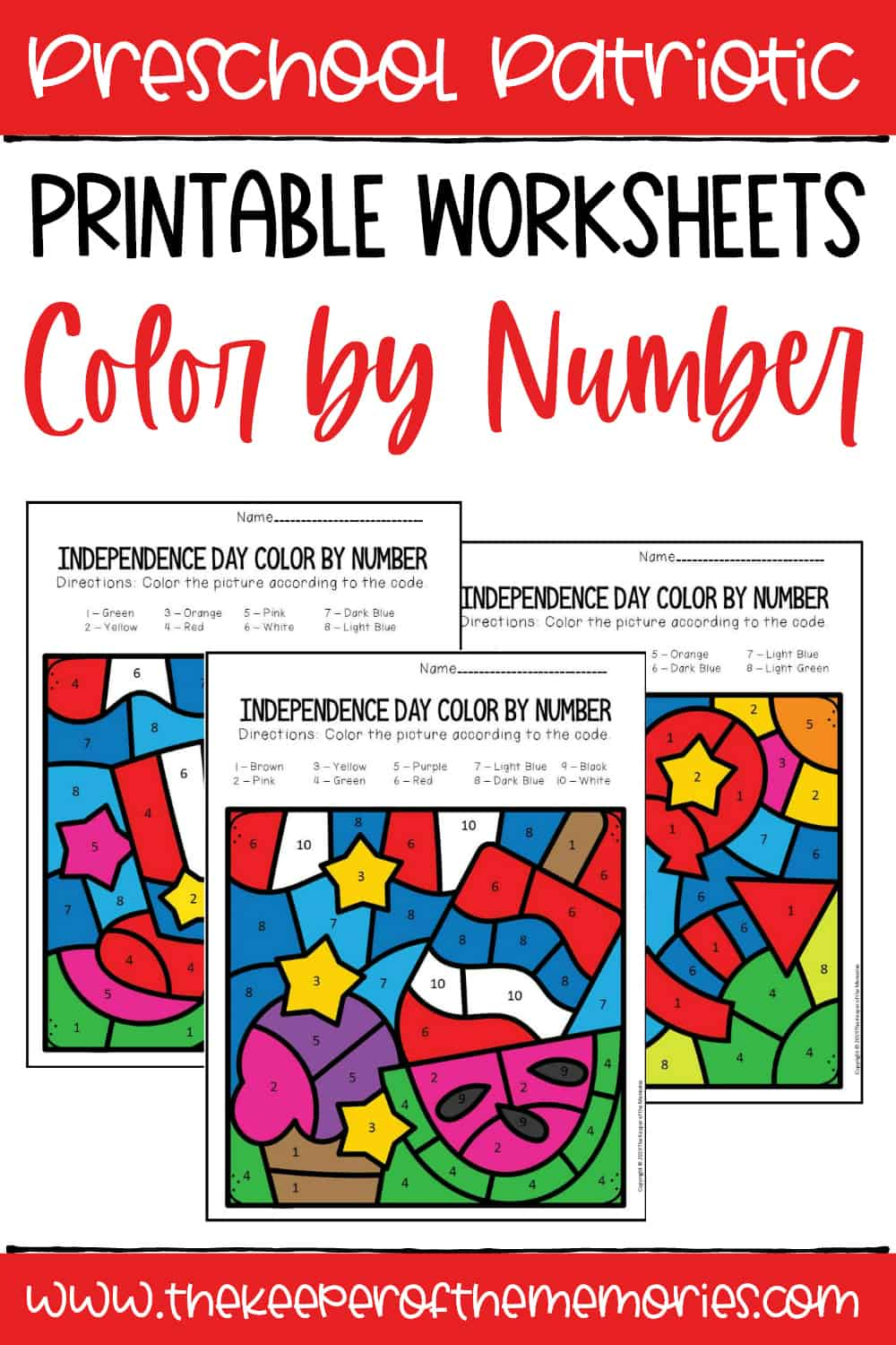 Color by Number Independence Day Preschool Worksheets