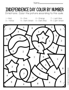 Color by Number Independence Day Preschool Worksheets Balloons and Firecracker