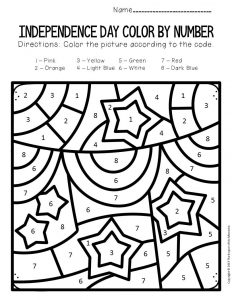 Color by Number Independence Day Preschool Worksheets Banners and Stars