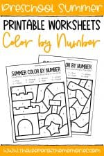 Color by Number Summer Preschool Worksheets