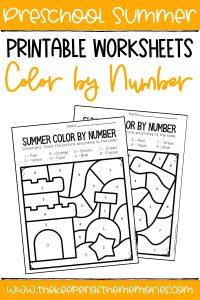 Color by Number Summer Preschool Worksheets