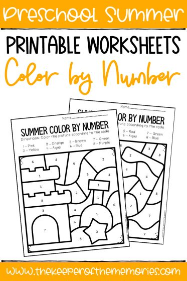 Color by Number Summer Preschool Worksheets with text: Preschool Summer Printable Worksheets Color by Number