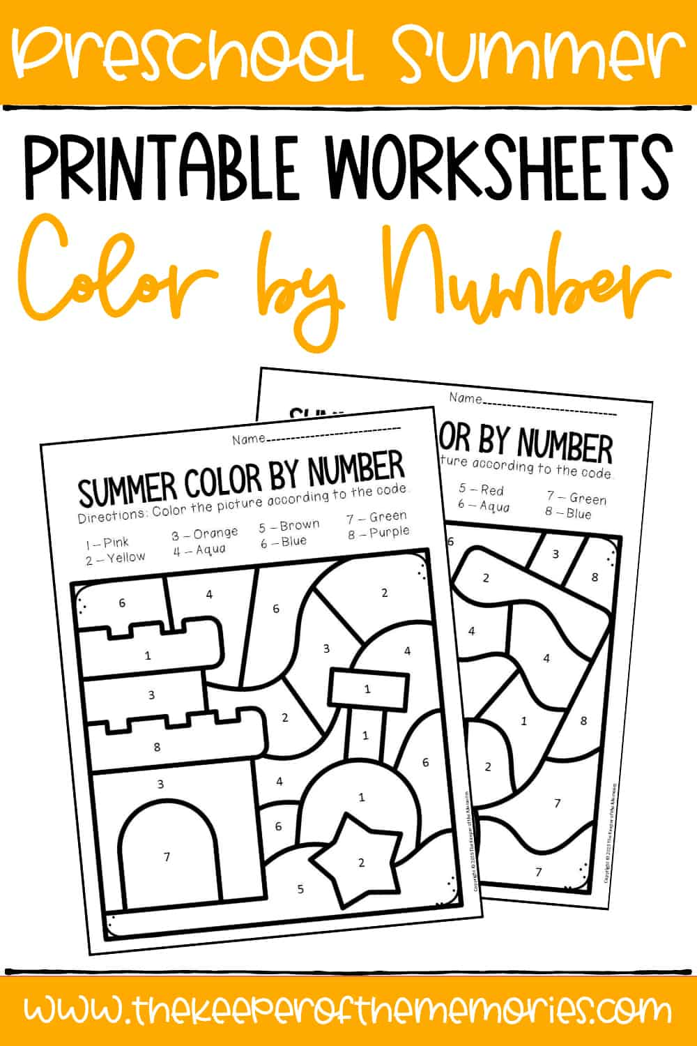 Color by Number Summer Preschool Worksheets - The Keeper ...