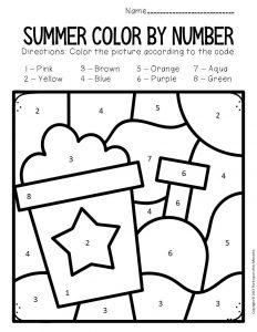 Color by Number Summer Preschool Worksheets Bucket and Shovel