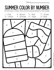 Color by Number Summer Preschool Worksheets Frozen Treats