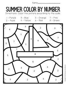 Color by Number Summer Preschool Worksheets Sailboat